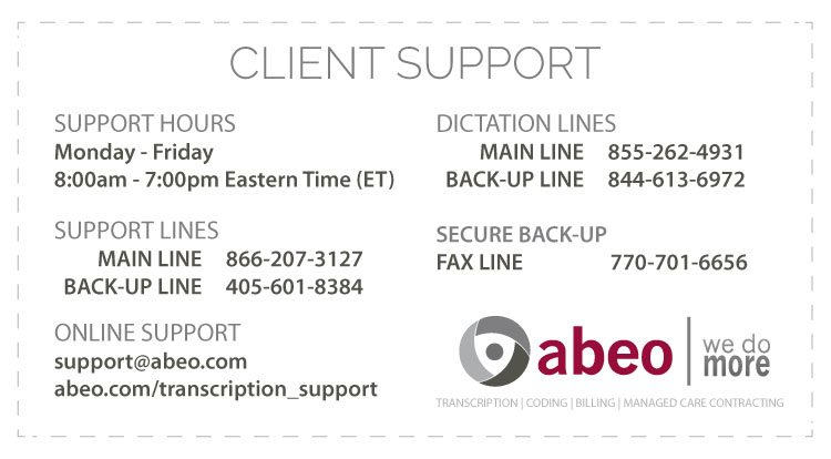 abeo Client Support Directory Card